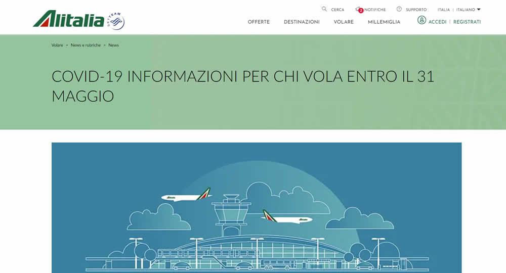 Alitalia rimborso volo cancellato per Coronavirus