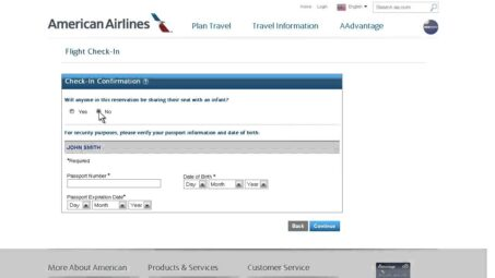 Check-in on line con American Airlines