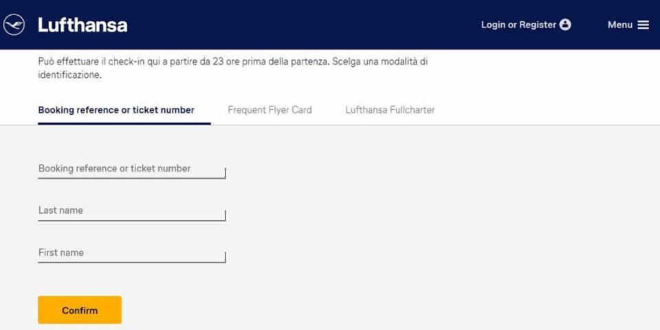 Check in online con Lufthansa